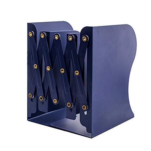 JIARI Simple Nature Style Blue Decorative Metal Iron Bookends Holder Stand Desk Nonskid Adjustable Bookend (Blue)