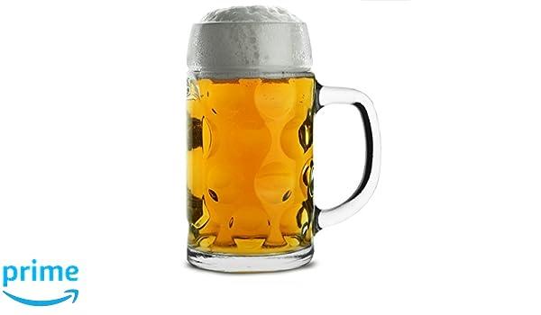 Jarra de cerveza alemana Isar cl/ásica de 500 ml con asa de vidrio