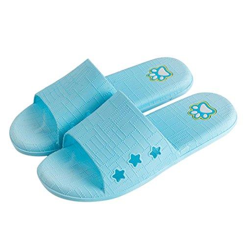 Cooljun Frauen Lattice Flat Bad Hausschuhe Sommer Sandalen Indoor & Outdoor Hausschuhe Sky Blue