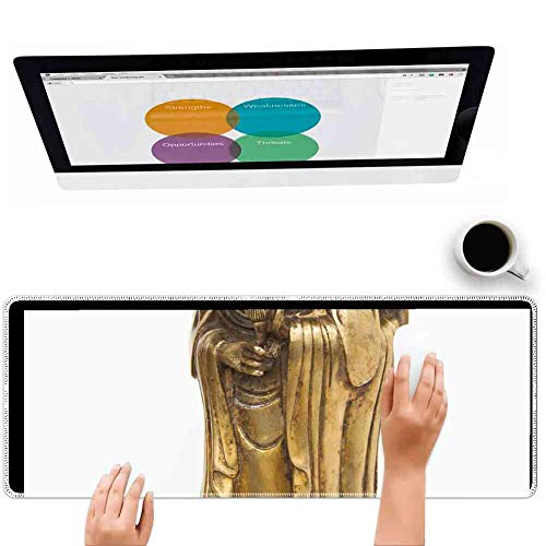 Mouse Pad Rectangle Mouse Pad Art Bronze Cast Gilded Asia Guanyin China Hands #78696 Anti Drop 800mm300mm3mm
