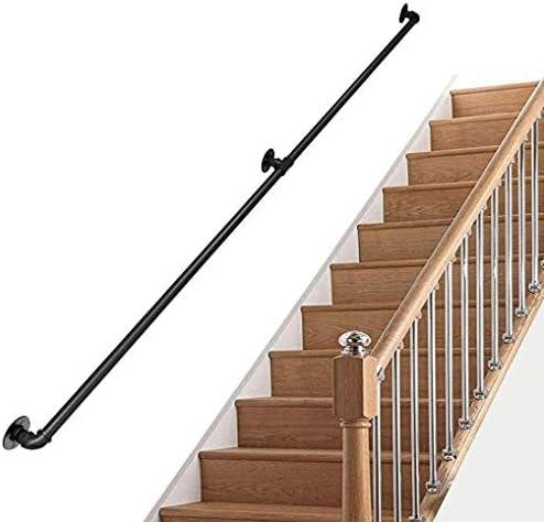 手すり-キット一式、工業用黒ノンスリップ錬鉄製階段手すり、壁取り付け用サポート付き、すべての階段通路ホールバス屋内傾斜路 (Size : 300cm)