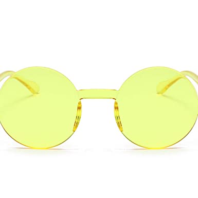 HANDAN Gafas de sol siamesas sin marco Retro Gafas redondas ...