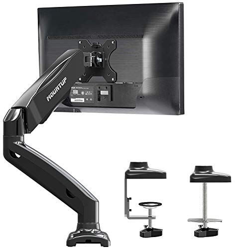 MOUNTUP Single Monitor Desk Mount - Adjustable Gas Spring Monitor Arm, VESA Mount with C Clamp, Grommet Mounting Base, Computer Monitor Stand for Screen up to 27 inch, MU0004