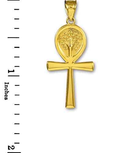 Petits Merveilles D'amour - 14 ct Or 585/1000 Ankh Croix Jaune Arbre de la Vie Pendentif