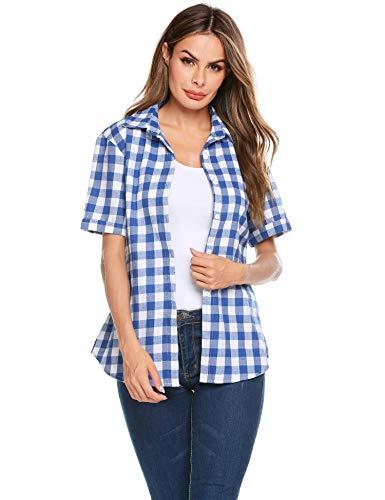 SUNAELIA Womens Short Sleeve Boyfriend Button Down Plaid Flannel Shirt Cotton Casual Blouse Check Gingham Top S-XXL