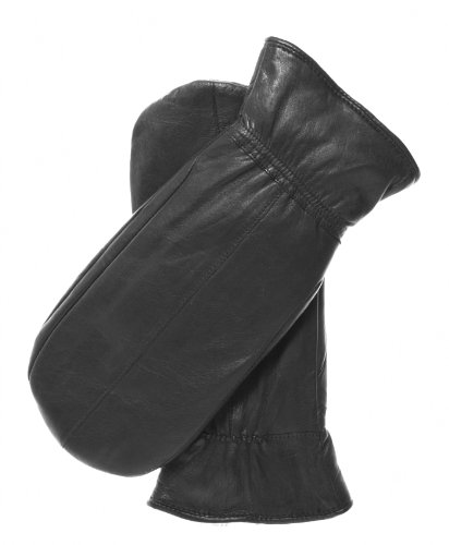 Pratt and Hart Women's Rabbit Fur Leather Mittens Size L Color Black by Pratt and Hart