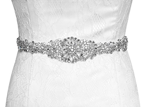 Lovful Crystal Rhinestone Bridal Wedding Dress Sash Belt With Ribbon, White