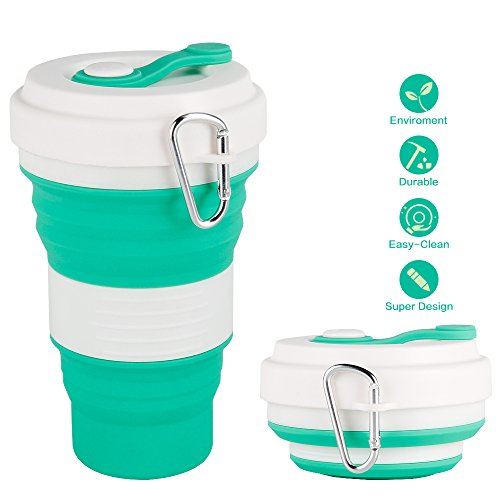 CREATELIFE Collapsible Travel Cup - Multifunctional Silicone Folding Camping Cup Sport bottle with Lids - Expandable Scald-proof Drinking Cup - BPA Free, Portable Bottle (Teal)
