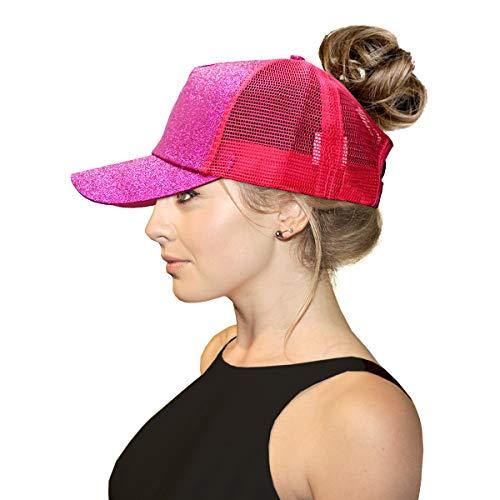 ccbeanie Ponytail Ponytail Hats - Messy High Bun Mesh Adjustable Trucker Glitter Baseball Cap Dad Cap