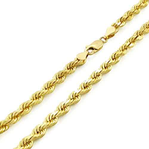 14k Yellow Gold Solid 5mm Diamond Cut Rope Chain Pendant Necklace, 20