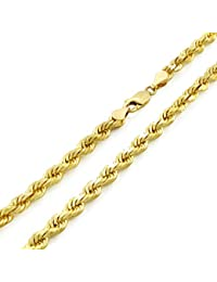 "14k Yellow Gold Solid 5mm Diamond Cut Rope Chain Pendant Necklace, 20""- 30"""