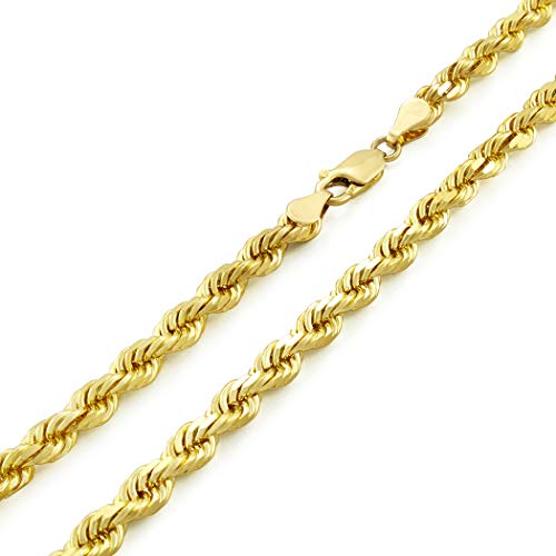 """14k Yellow Gold Solid 5mm Diamond Cut Rope Chain Pendant Necklace, 20""""- 30"""" from Nuragold"""