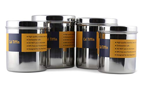 Cal Tiffin Stainless Steel CANISTER food storage set of 4 with lids (86, 64, 48, 36 fl oz). Great for sugar, coffee, tea, flour storage - Eco friendly, Dishwasher Safe; Made in India Eco Friendly Tea Set