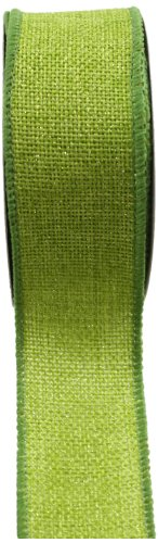 Apple Burlap Ribbon - Kel-Toy RDJB138-60 Sparkle Faux Burlap Ribbon, 1.5-Inch by 10-Yard, Apple Green