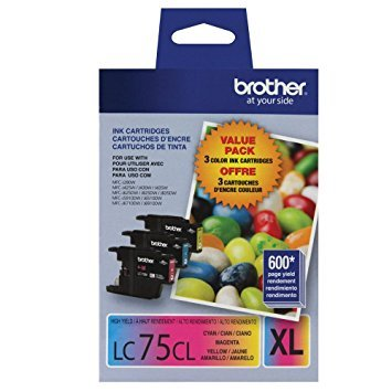 - Brother LC75-3PKS Combo Pack Ink High Yield (3x 600 Yield)(C/M/Y)