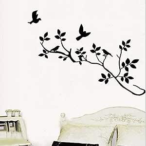 ملصقات حائط لفرع شجرة الطائر الأسود ملصق حائط قابل للإزالة فن جداري ديكور منزلي