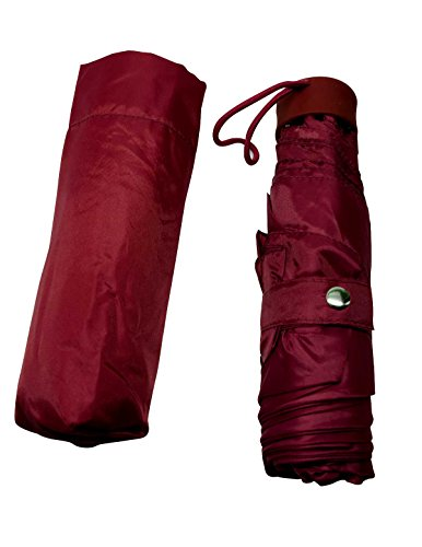 The Weather Station Flat Mini Manual Umbrella w/ Case and Button Snap Closure, Maroon