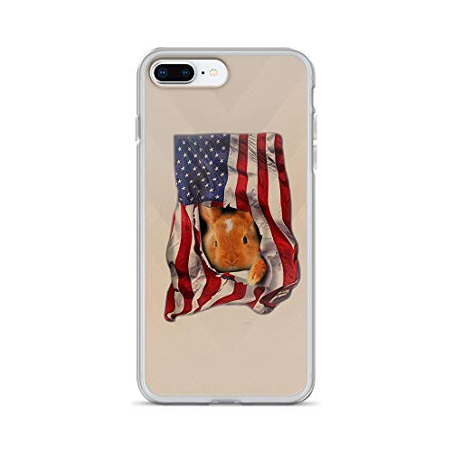 iPhone 7 Plus/8 Plus Pure Clear Case Cases Cover Rabbit USA Flag Heart Animal 4th of July American -