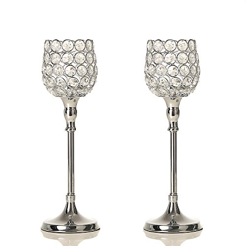 Pillar Holder Candle Crystal (VINCIGANT Set of 2 Silver Crystal Pillar Candle Holder Modern Table Centerpieces for Anniversary Celebration Decorations Gift,12.6 Inches Tall)