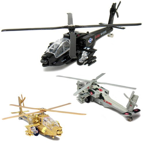"""UPC 083176036219, Set of 3 Copters: 8"""" Die-cast Combat Apache AH-64A, Pull Back Action"""