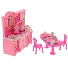 Dovewill 1 Set Dollhouse Miniature Kitchen Set Cabinet Kitchenware for Barbie Dolls