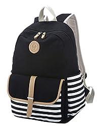 Greeniris Teenage Girls Causal Canvas Stripe Backpack for Women/School Teens