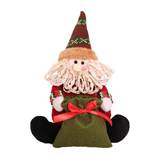 Brave669 [Christmas Decoration]-Christmas Santa Snowman Elk Candy Bag Pen Vase Container Party Table Doll Decor,Christmas Lights ()