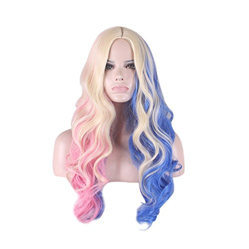 Halloween Harley Costume Cosplay Party Wig Red Black Mixed Pigtail Long Curly Hair with Ponytails Girl Womens Lolita Gradient Color Wigs by Lemoncy (layered curly) (Mixed Girl Halloween Costumes)