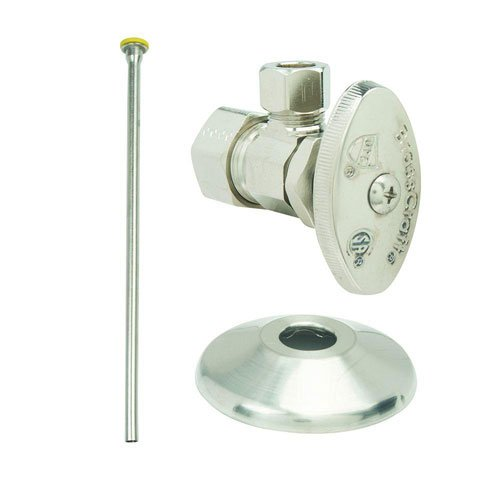 BrassCraft OCR1912DLX NS Faucet Kit: 1/2'' Nom Comp x 3/8'' O.D. Comp Multi-Turn Angle Valve with 12'' Riser and Flange in Satin Nickel by BrassCraft