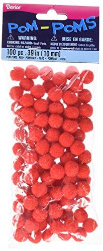 Pom Poms 25 100 Pkg Red