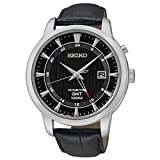 Seiko Kinetic GMT Black Dial Leather Strap Men's Analog Dress Watch SUN033P2
