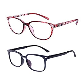 Anti Blue Light Reading Glasses,HD Reading Glasses,Reading Glasses Women and Men,Fashion Eyewear with Lightweight Frame,Visual Aided Glasses,Anti Eyestrain,Diopter (+1.50,2 Colours)
