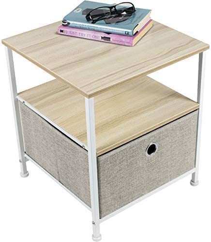 Sorbus Nightstand 1-Drawer Shelf Storage