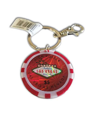 Keychain Chip Casino Poker ($5 LAS VEGAS POKER CHIP KEYCHAIN (RED))