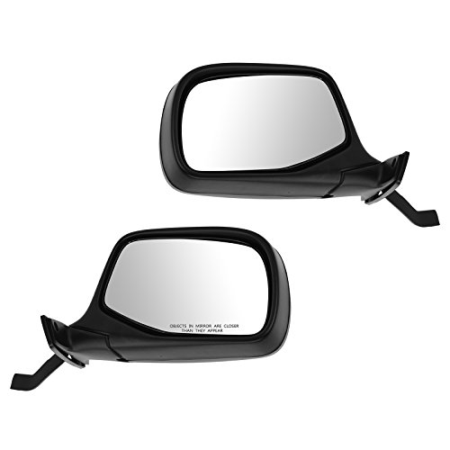 Black Manual Mirrors Pair Set of 2 for Bronco Pickup Truck F150 F250 F350 ()