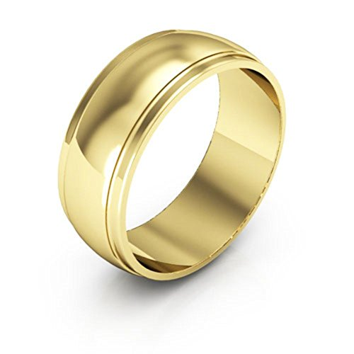 (14K Yellow Gold men's and women's plain wedding bands 7mm half round edge, 7.5)