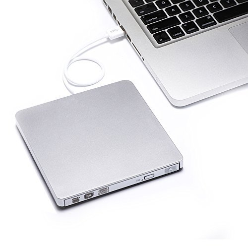 YAHE External DVD Drive,USB 2.0 Slim Portable External CD/DVD-RW Player/Writer/Burner for Apple MacBook, Laptops, Desktops, Notebooks. (Silver) by YAHE