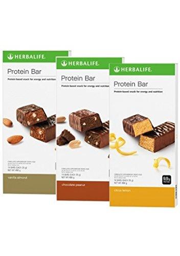 Protein Bar Deluxe; Vanilla Almond, Chocolate Peanut and Citrus Lemon -