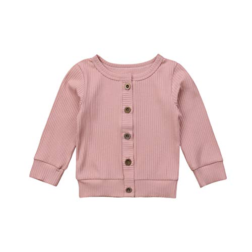 Baby Girl Button Down Knitwear Long Sleeve Soft Basic Knit Snap Jacket Cardigan Sweater Coat (12-18 Months, Pink) (Pink Sweater Cardigan Girls)