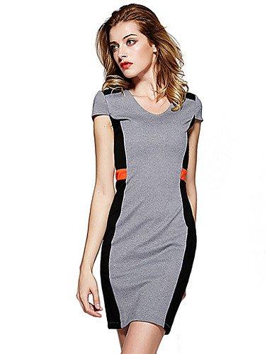 PU&PU Robe Aux femmes Gaine Simple,Couleur Pleine Col Arrondi Au dessus du genou Polyester , gray-2xl , gray-2xl