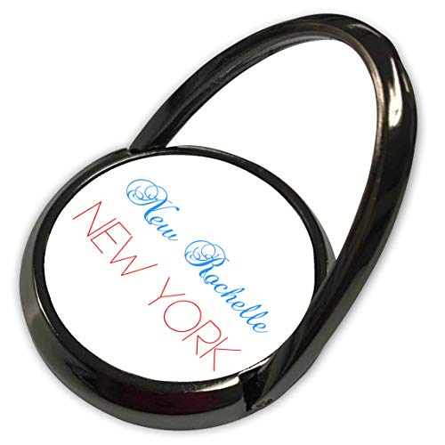 (3dRose Alexis Design - American Cities Nevada-New-York - New Rochelle, New York Blue, red Text. Patriotic USA Home Town Gift - Phone Ring (phr_300589_1))