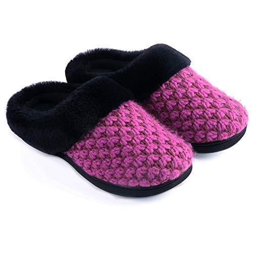 - Zigzagger Women's Polar Fleece Memory Foam Slippers Plush Lining Slip-on Faux Fur Collar Indoor-Outdoor House Shoes,Wine,9-10 M US