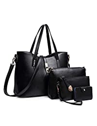 TIBES Fashion Women's PU Leather Handbag+Shoulder Bag+Purse+Card Holder 4pcs Set Tote