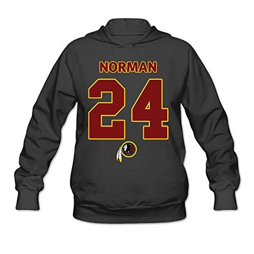 Hotboy19 Women's Long Sleeve Hoodie Washington #24 Football Player Black Size XL