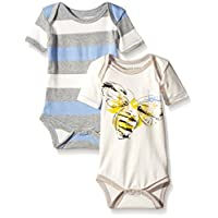 Burt's Bees Baby Baby Set Of 2 Organic 'Buzz' and Stripe Bodysuits, Eggshell,...