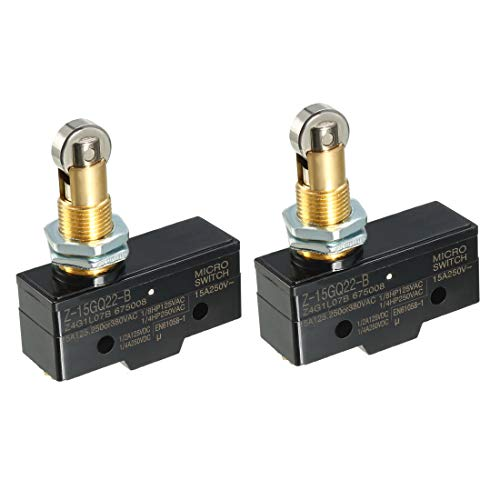 uxcell 2PCS Z-15GQ22-B 1NO + 1NC Panel Mount Roller Plunger Micro Action Switches