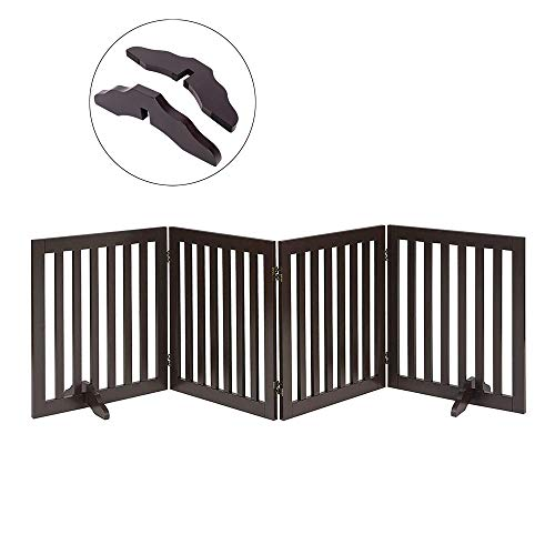 - Total Win Freestanding Pet Gate for Dogs with 2PCS Support Feet, Foldable Wooden Dog Gates for Doorways Stairs, Indoor Pet Puppy Safety Fence, Extra Wide, 24 Inches H, 80 Inches W, 4 Panels, Espresso