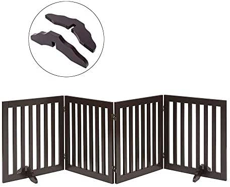 Total Win Freestanding Pet Gate for Dogs with 2PCS Support Feet, Foldable Wooden Dog Gates for Doorways Stairs, Indoor Pet Puppy Safety Fence, Extra Wide, 24 Inches H, 80 Inches W, 4 Panels, Espresso