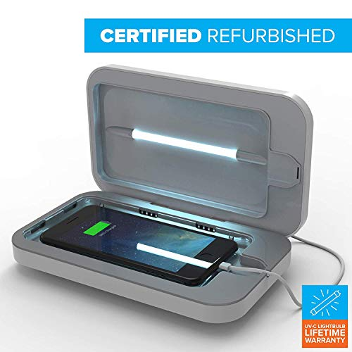 PhoneSoap 3 UV Cell Phone Sanitizer and Dual Universal Cell Phone Charger   Patented and Clinically Proven UV Light Sanitizer   Cleans and Charges All Phones - White (Renewed)