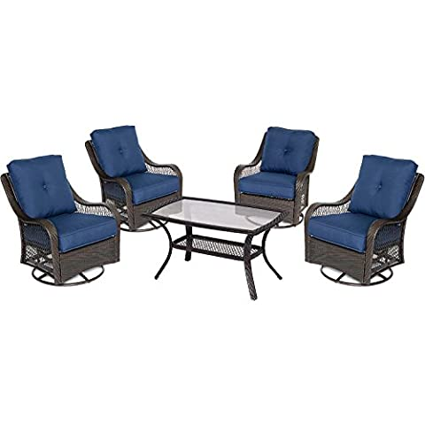 Hanover Orleans 5 Piece Patio Chat Set in Navy Blue - Orleans Patio Furniture